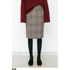 QQQQ - Wool Blend Glen-Plaid Pencil Skirt