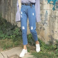 Glen Glam - Distressed Straight-Cut Cropped Jeans