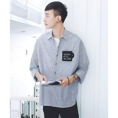 Mr. Cai - Long-Sleeve Pocket-Accent Striped Shirt