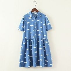 ninna nanna - Short-Sleeve Print Denim Dress