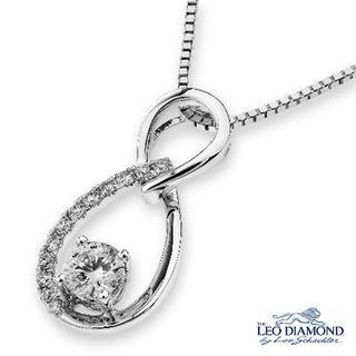 Leo Diamond - 18K White Gold Diamond 8 Shaped Infinity Pendant Necklace (16')