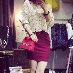 Fashion Street - Set: Long Sleeve Crochet Top + Mini Skirt