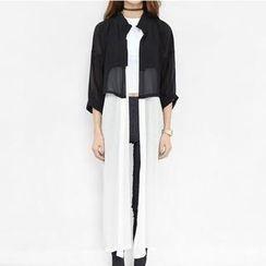 Ando Store - Long-Sleeve Chiffon-Hem Long Shirt