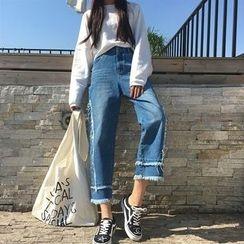 Alfie - Distressed Fringed Wide-Leg Jeans
