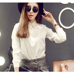 YOZI - Laser Cut Collar Chiffon Shirt