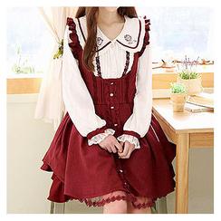 Sechuna - Frill-Trim Pleated Suspender Dress