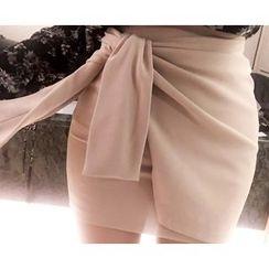 Marlangrouge - Layered Tie-Waist Mini Skirt