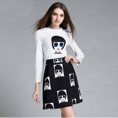 Cherry Dress - Set: Long-Sleeve Print T-Shirt + A-Line Skirt