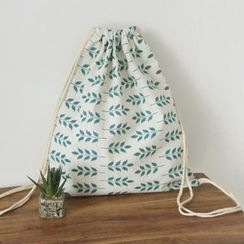 TangTangBags - Leaf Print Canvas Drawstring Backpack