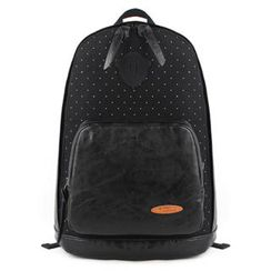 Mr.ace Homme - Faux Leather-Panel Backpack