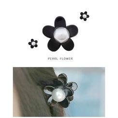 Miss21 Korea - Flower Faux-Pearl Mini Hair Clamp
