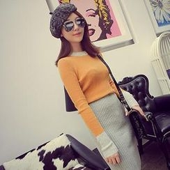 Yako - Set: Color-Block Knit Top + Knit Pencil Skirt