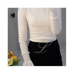 LEELIN - Turtle-Neck Frilled Knit Top
