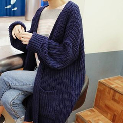 mimi&didi - Open-Front Chunky-Knit Long Cardigan