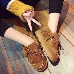 Hipsole - Faux-Suede Fringed Loafers