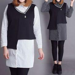 Rainbow Plus - Set: Striped Long Shirt + Asymmetric Hem Vest