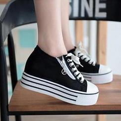 Zandy Shoes - Zip Canvas Platform Sneaker