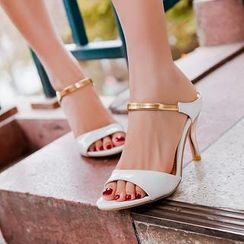 JY Shoes - Two-Tone Heel Sandals