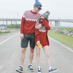 QZ Lady - Couple Matching Patterned Knit Top