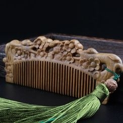 White Lotus - Carved Wooden Hair Comb