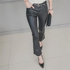 ERANZI - Faux-Leather Boot-Cut Pants