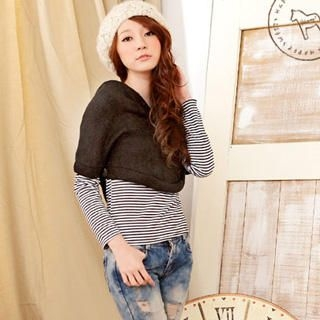 YUMI - Set: Hooded Knit Capelet+Striped T-Shirt