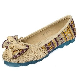 yeswalker - Bow-Accent Crochet Panel Patterned Flats