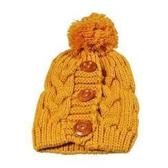 Eva Fashion - Buttoned Cable Knit Beanie