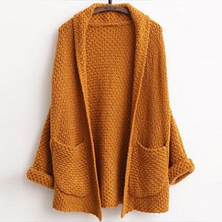 FR - Open-Front Waffle-Knit Cardigan