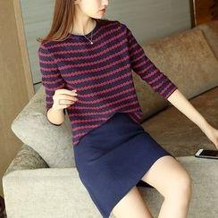 Weaverbird - 套裝: 條紋毛衣 + 裙