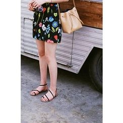 CHERRYKOKO - Floral A-Line Mini Skirt