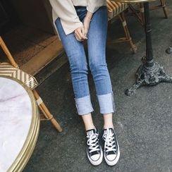 mimi&didi - Cuffed-Hem Straight-Cut Jeans