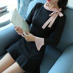 Mandalle - 配色邊荷葉擺塑身連衣裙