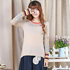 Blue Hat - Long-Sleeve Panel Top