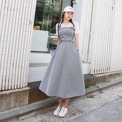 DABAGIRL - Set: Gingham Smocked Tube Top + A-Line Long Skirt