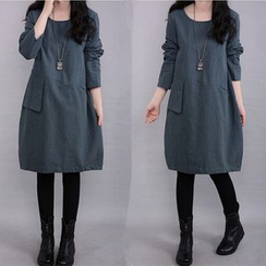 GLIT - Plain Long-Sleeve Midi Dress