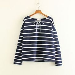 Mushi - Striped Long Sleeve Lace-Up T-Shirt