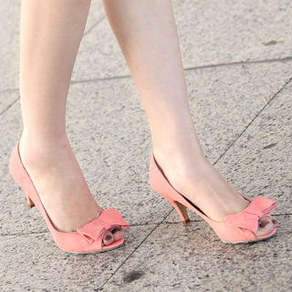 59 Seconds - Bow-Accent Open-Toe Heels
