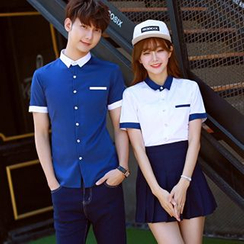 Azure - Couple Matching Contrast Color Short-Sleeve Shirt