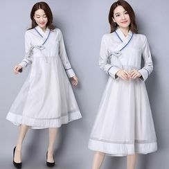 Diosa - Chinese Linen Cotton Long-Sleeve Dress