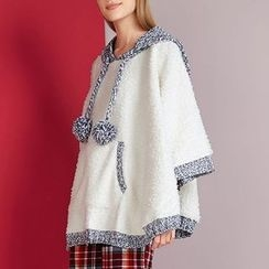 Rooftop Sonata - Pompom Melange Panel Hooded Cape