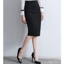 Brightful - Slit Pencil Skirt