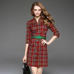 欧依潮派 - 五分袖格纹饰扣连衣裙