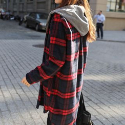 CLICK - Set: Wool Blend Check Jacket + Hooded Vest