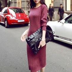 Neeya - 长袖麻花针织连衣裙