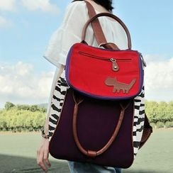 SUPER LOVER - Contrast-Trim Applique Canvas Backpack