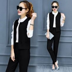 lilygirl - Set: Long-Sleeve Shirt + Vest + Straight Fit Pants