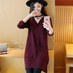 Autunno - Long-Sleeve V-Neck Long Knit Top
