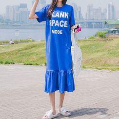 Envy Look - Ruffle-Hem Lettering Long T-Shirt Dress