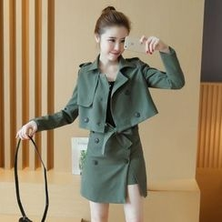 lilygirl - Set: Cropped Trench Jacket + Skirt